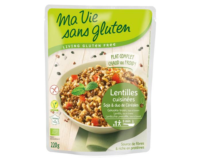 MA VIE SANS GLUTEN Céréales Cuisinées Lentilles, Soja et Duo Riz Sarrasin - 220 g