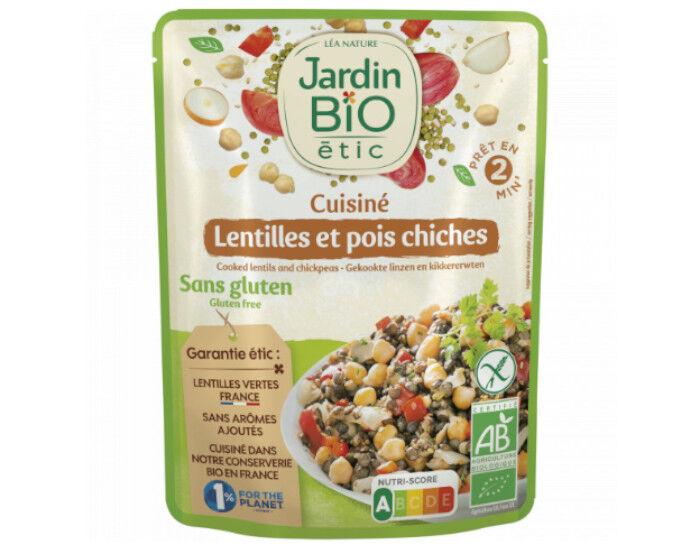 JARDIN BIO Menu Express - Lentilles et Pois-Chiches Cuisinés Sans Gluten - 250 g