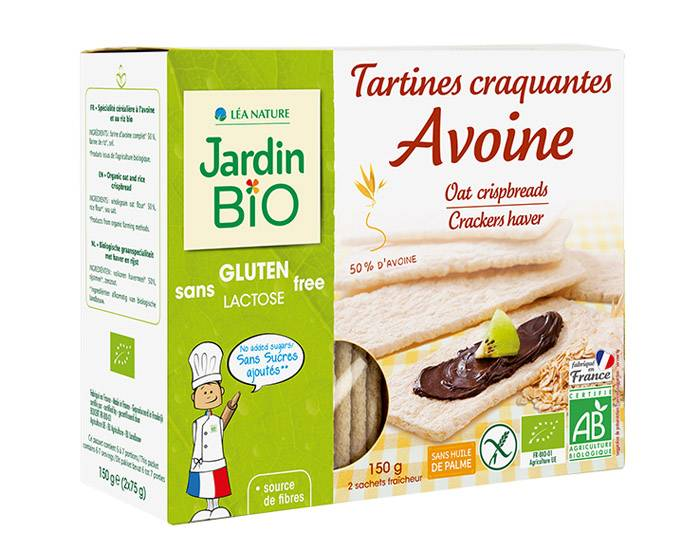 JARDIN BIO Tartines Craquantes Avoine Sans Gluten 150 g