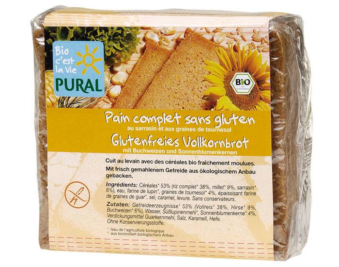 PURAL Pain Complet Sans Gluten au Sarrasin et Graines de Tournesol - 375 g