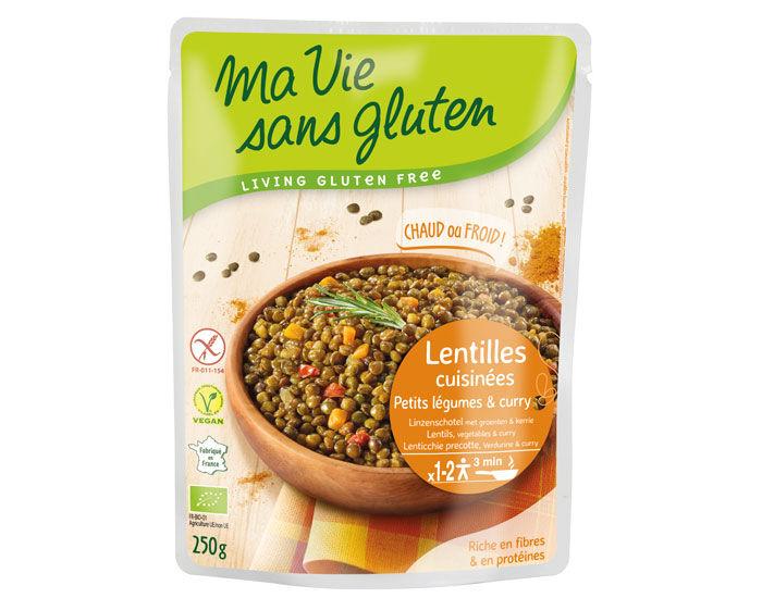 MA VIE SANS GLUTEN Repas Lentilles Cuisinées Légumes Curry - 250 g