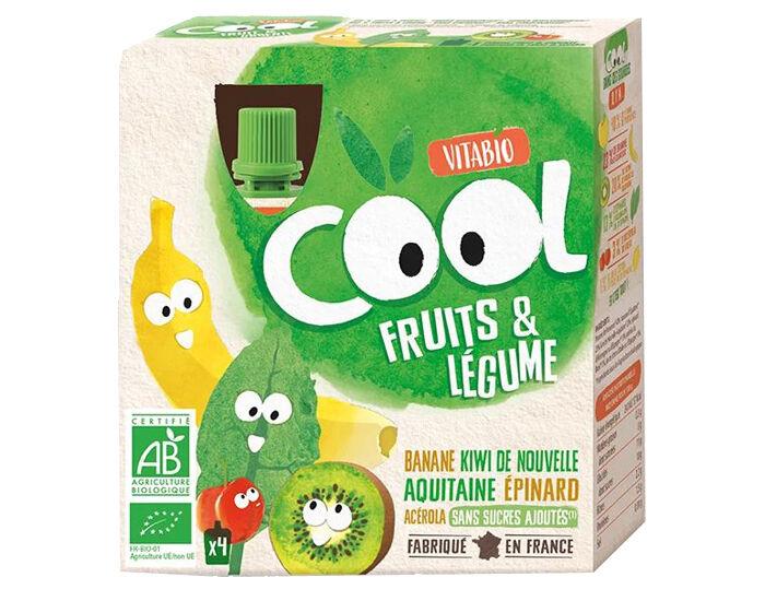 VITABIO Cool Fruits et Légumes Banane Kiwi Epinard 4 x 90 g