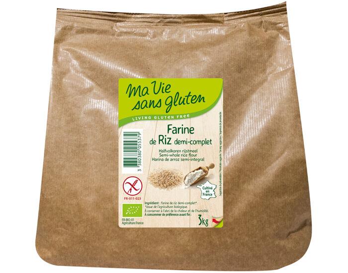 MA VIE SANS GLUTEN Farine de Riz demi-complète 3 kg