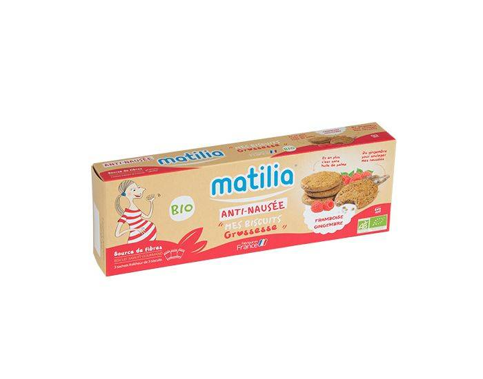 MATILIA Pack 3 Etuis Biscuits Anti-Nausée BIO - Framboise - 3x150g