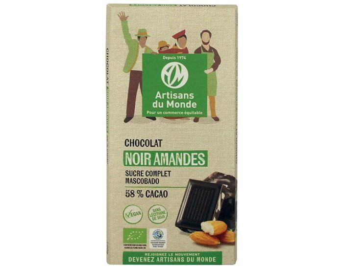 ARTISANS DU MONDE Chocolat Noir Équitable et Bio aux Amandes - 100g