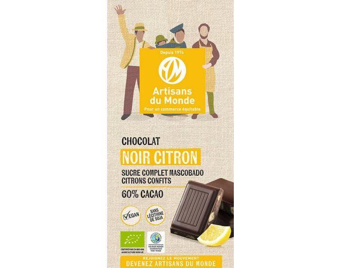 ARTISANS DU MONDE Chocolat Noir Équitable et Bio au Citron - 100gr