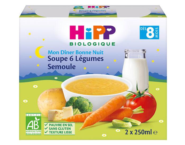 HIPP Soupes Bébé en Briques - 2x250ml 6 Légumes - Semoule - 8M