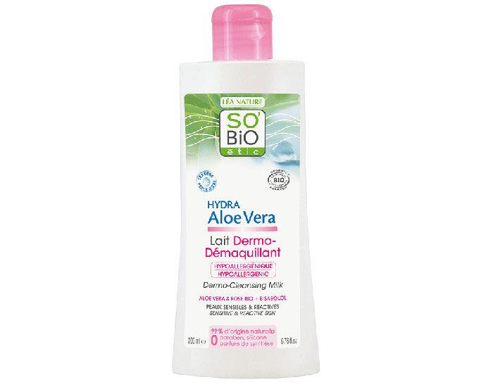 SO'BIO Lait Dermo-Démaquillant Aloé Véra - Peau Sensible - 200 ml