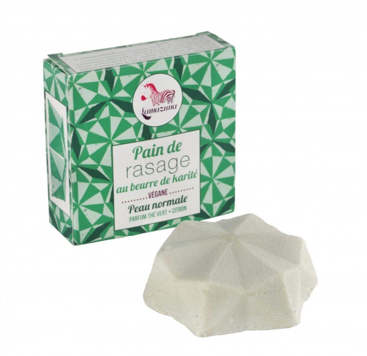 LAMAZUNA Pain de Rasage Solide - Thé Vert Citron - 55 g