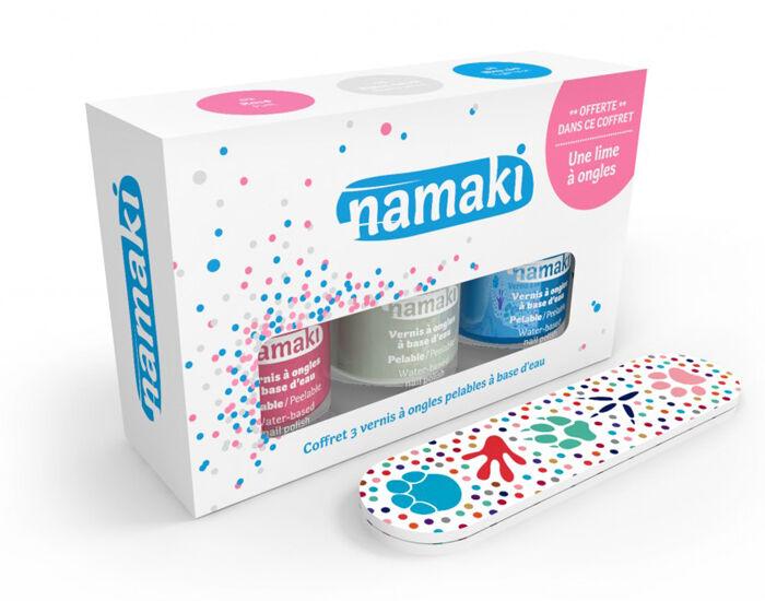 NAMAKI Coffret 3 Vernis Rose - Blanc - Bleu Ciel