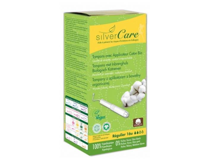 SILVERCARE Tampons en Coton Bio - Normal avec Applicateur x16