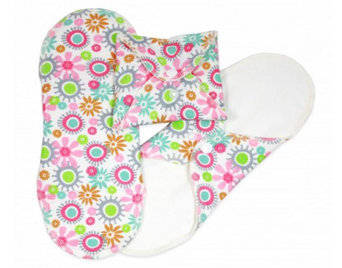 IMSEVIMSE Serviettes Hygiéniques Lavables Fleurs - Lot de 3 Normal