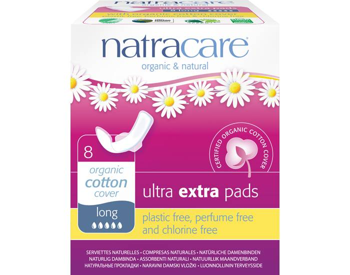 NATRACARE Pack Serviette Hygiénique Ultra Extra à Ailettes - Long 3 x 8 serviettes