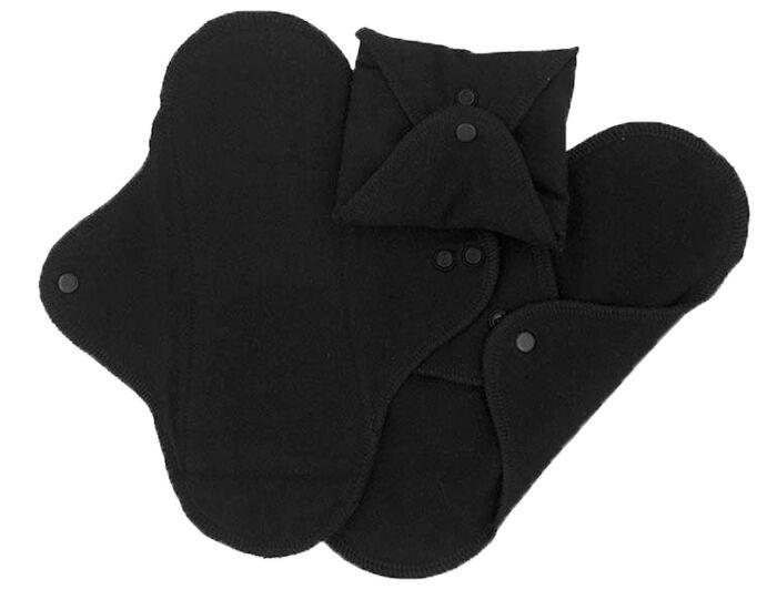 IMSEVIMSE Serviettes Hygiénique Lavable - Noir - Lot de 3 Mini