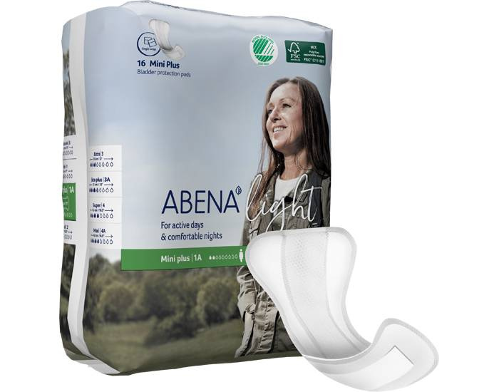 ABENA Light Serviettes Incontinence Mini Plus - Paquet de 16 - 200 ml