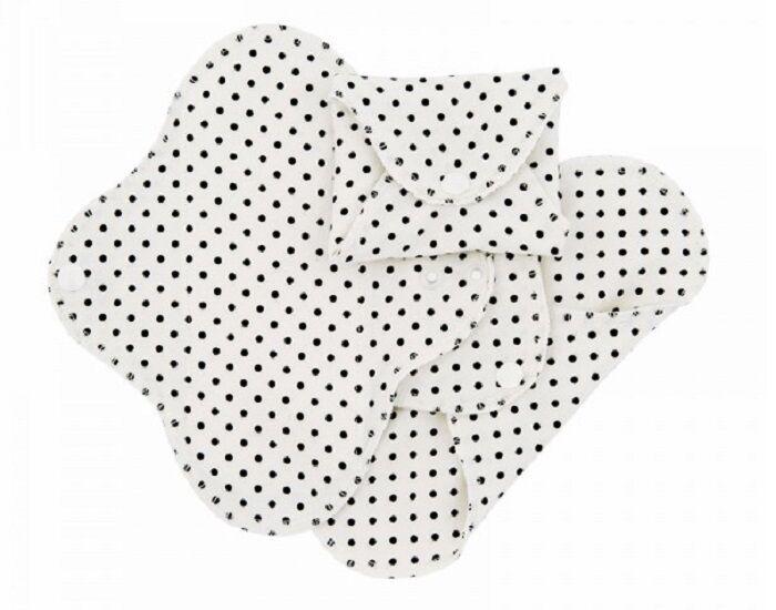 IMSEVIMSE Lot de 3 Serviettes Hygiéniques Lavables SLIM - Black Dots Mini