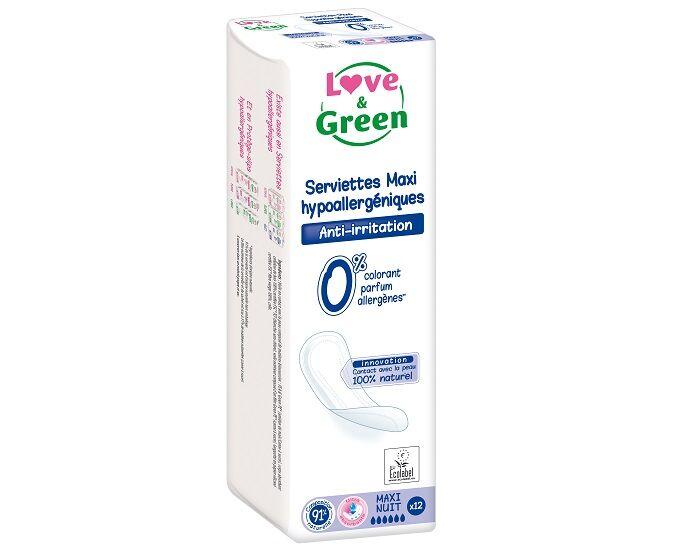Love and Green Serviettes Hygiéniques Hypoallergéniques - Maxi Nuit - Paquet de 12