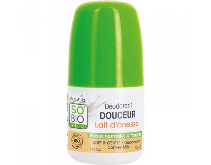 SO'BIO Déodorant Douceur Lait d'Anesse - Peaux Normales à Fragiles - 50 ml