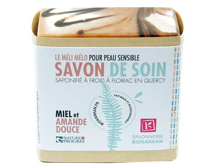 SAVONNERIE BIO KANKAN Savon Surgras - Miel et Huile d'Amande Douce Sans HE - 100 g