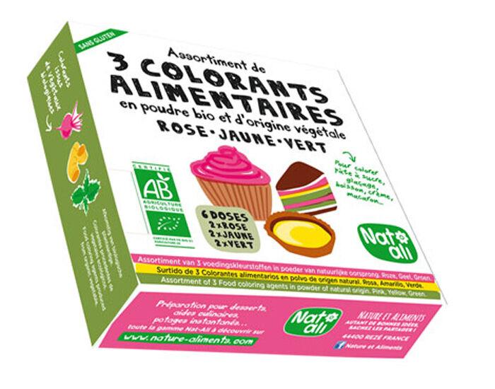 NAT-ALI Etui 3 Colorants Alimentaires en Poudre Bio - 3 x 10 g