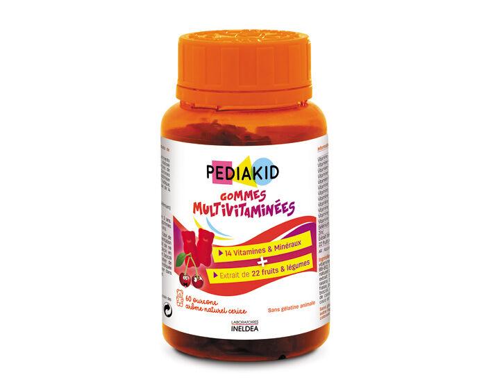 PEDIAKID Gommes 14 Vitamines Et Minéraux - Goût Cerise - Dès 3 ans