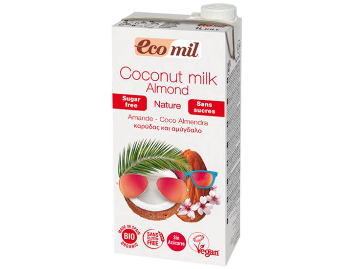 ECOMIL Lait Coco Amandes Nature Bio - Sans Sucres - 1 L