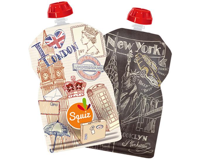 SQUIZ Lot de 2 Gourdes Réutilisables - Londres et New York - 130 ml