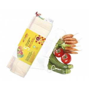 AH TABLE Lot de 5 Sacs en Coton Bio pour Fruits et Légumes - L : 30 x 33 cm