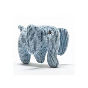 BEST YEARS Hochet Éléphant en Coton Bio - Bleu - Dès la Naissance