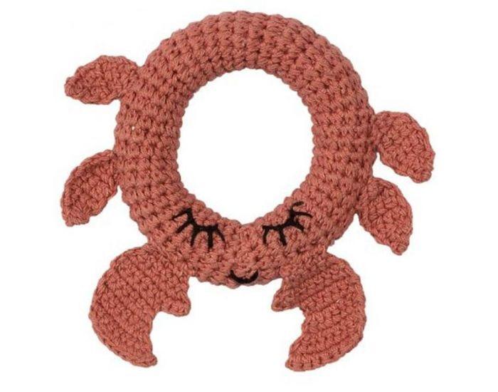 HOPPA Hochet en Fil de Coton Bio Crabe - Dès la Naissance