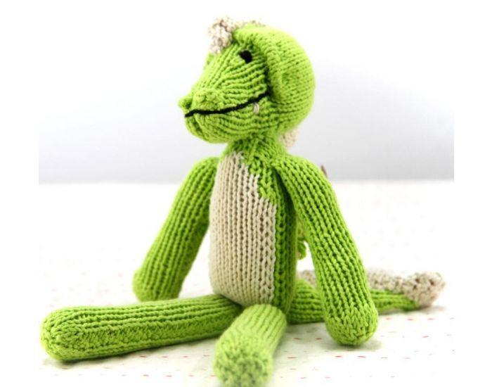KENANA KNITTERS Crocodile Fait Main Equitable Coton Bio vert pomme