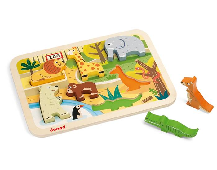 JANOD Puzzle Chunky Zoo - Dès 18 mois