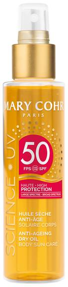 Mary Cohr Huile sèche solaire anti âge corps haute protection SPF50 150 ml