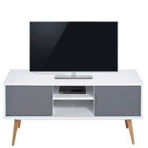 Beaux Meubles Pas Chers Meuble TV Blanc Gris 2 Portes 4 Pieds - Publicité