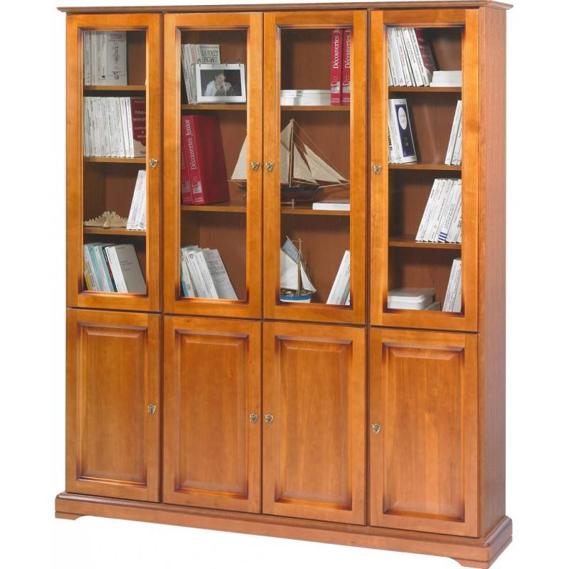 Beaux Meubles Pas Chers Grande Bibliothèque 8 Portes Merisier Louis Philippe
