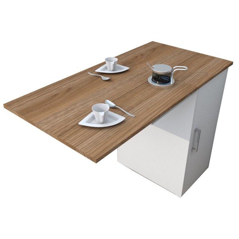 PUNTO Meuble Cuisine et Table Rabattable Blanc et Châtaignier