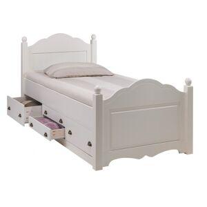 Beaux Meubles Pas Chers Lit Enfant Blanc 4 Tiroirs 90 190 Sommier - Publicité