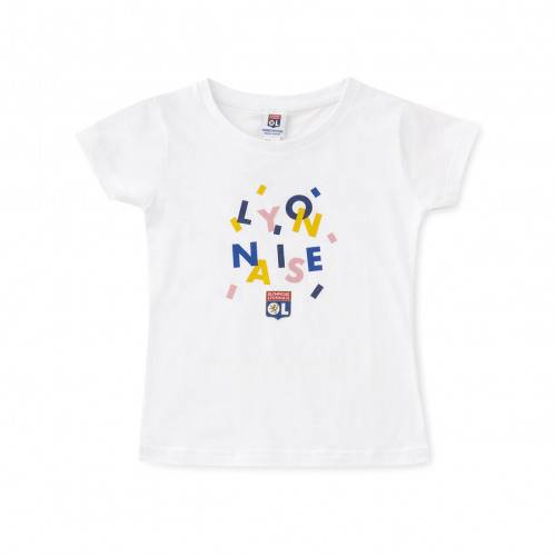 Olympique Lyonnais T-shirt blanc fillette lyonnaise  - 5-6A OL - Foot Lyon