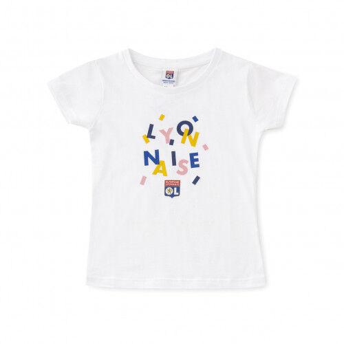 Olympique Lyonnais T-shirt blanc fillette lyonnaise  - 12-14A OL - Foot Lyon