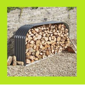 Bouvara abri bois bucher 2,12 x 1,11 m en acier galvanisé - Publicité