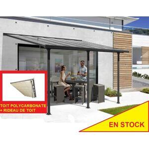 Bouvara Pergola alu 5x3m avec toit en polycarbonate + rideau - Publicité