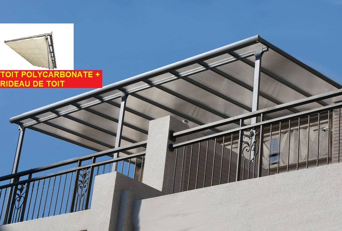 Bouvara Pergola alu 4,18x3,07m polycarbonate+rideau de toit