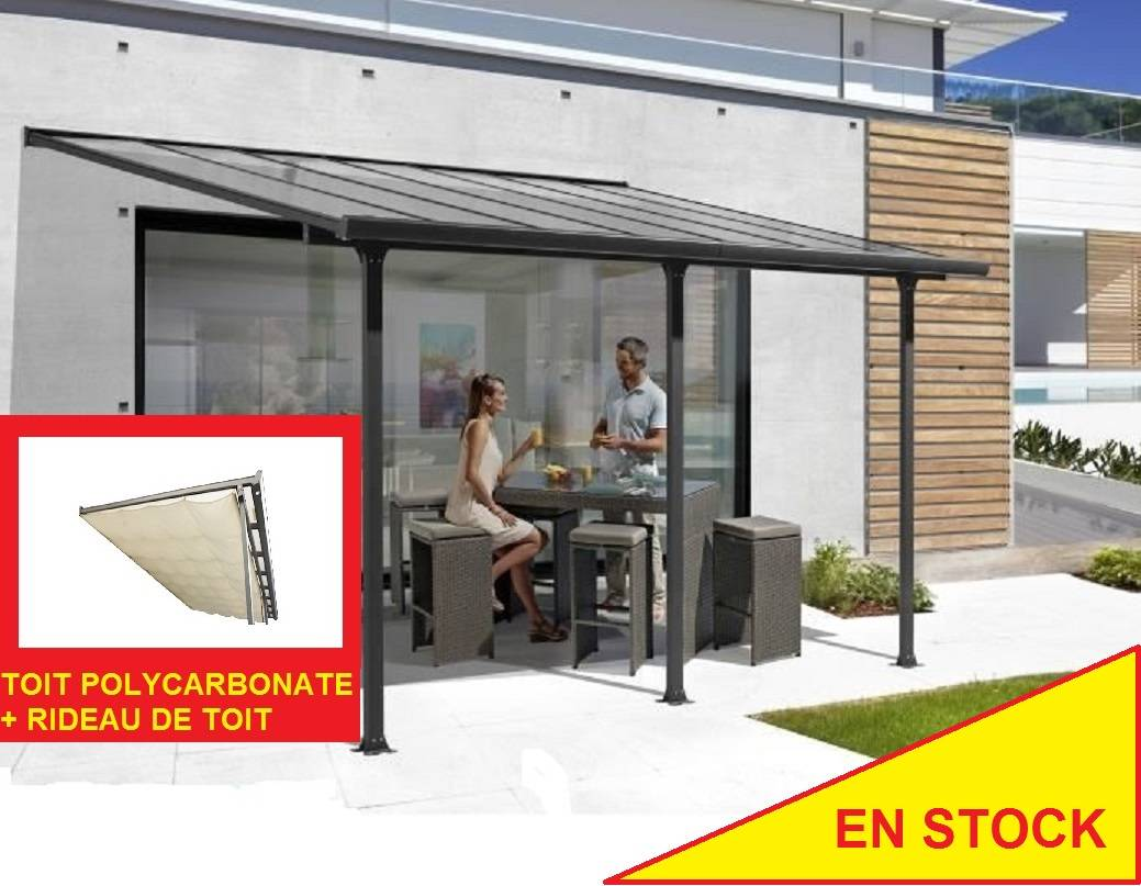 Bouvara Pergola alu 5x3m avec toit en polycarbonate + rideau