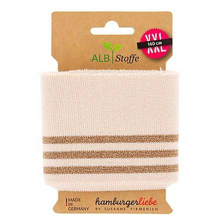 """ALB Stoffe Albstoffe Bande bord-côte coton bio """"Cuff Me Glam"""", écru/or, scintillant, 1,1 m"""