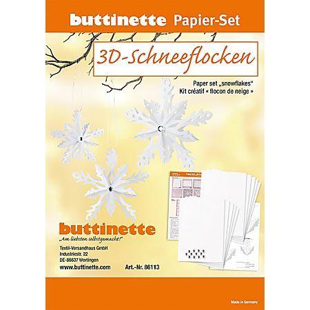 """buttinette Kit créatif en papier """"flocons de neige 3D"""", blanc, 6 flocons de neige"""