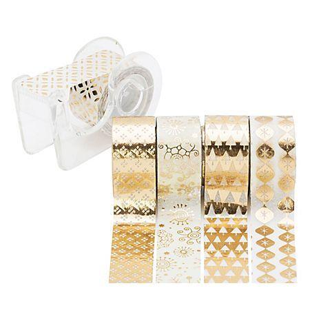 """Heyda Rubans adhésifs décoratifs """"mini"""", or/blanc, 12 mm, 15 m"""