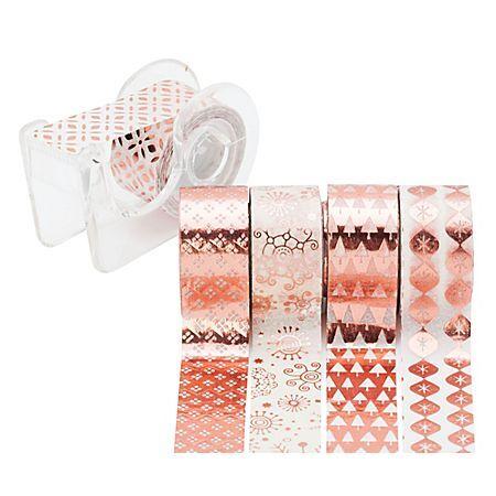 """Heyda Rubans adhésifs décoratifs """"mini"""", or rose/blanc, 12 mm, 15 m"""