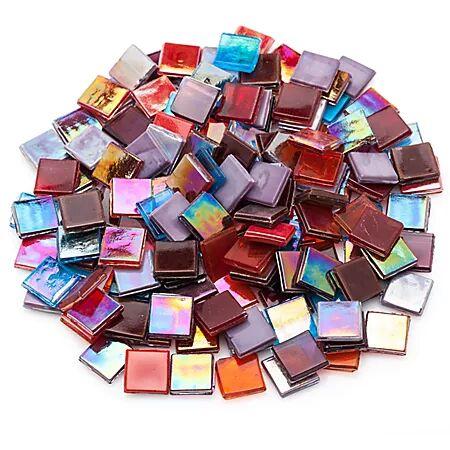 Set de tesselles irisées en verre, multicolore, 15 x 15 mm, 500 g