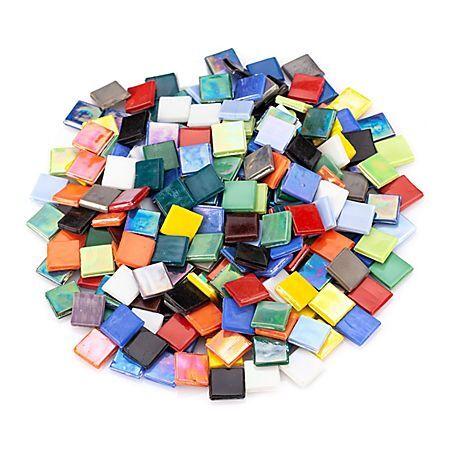 Tesselles en verre teint, multicolore opaque