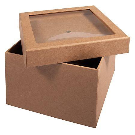 Rayher Boîte en papier maché avec couvercle à remplir, 12,5 x 12,5 x 9 cm